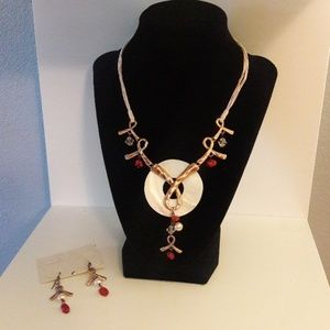 Jewelry - Breast Cancer Ribbon Necklace and Earring Set